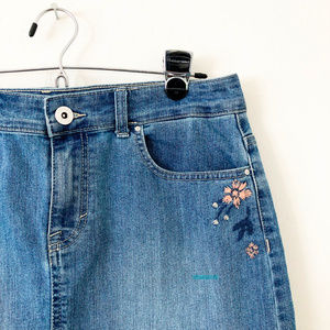 Style & Co Skirts - Style & Co Denim Skirt with Embroidery
